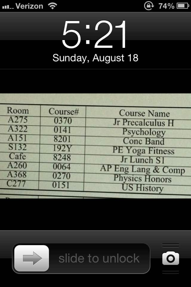 iphone timetable