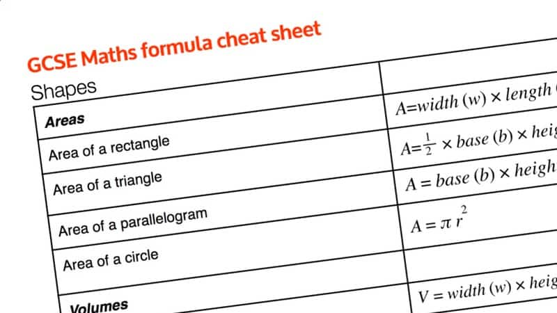 GCSE maths formula cheat