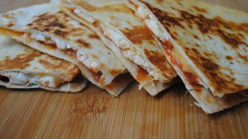 Chicken and cheese quesadillas